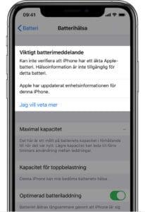 Viktigt batterimeddelande iPhone